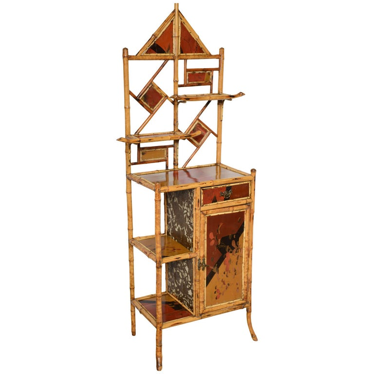 Antique Bamboo Pagoda Etagere For Sale