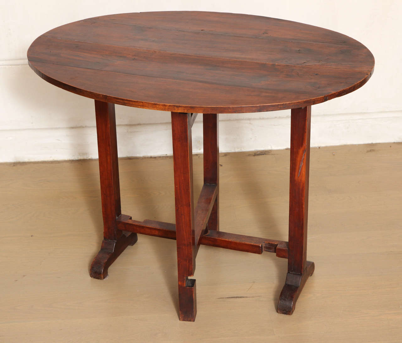 French Oval Cherry Folding Tilt Top Side Table, Late 19th Or 20th Century 2