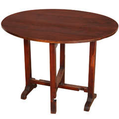 French Oval Cherry Folding Tilt Top Side Table, Late 19th or 20th Century