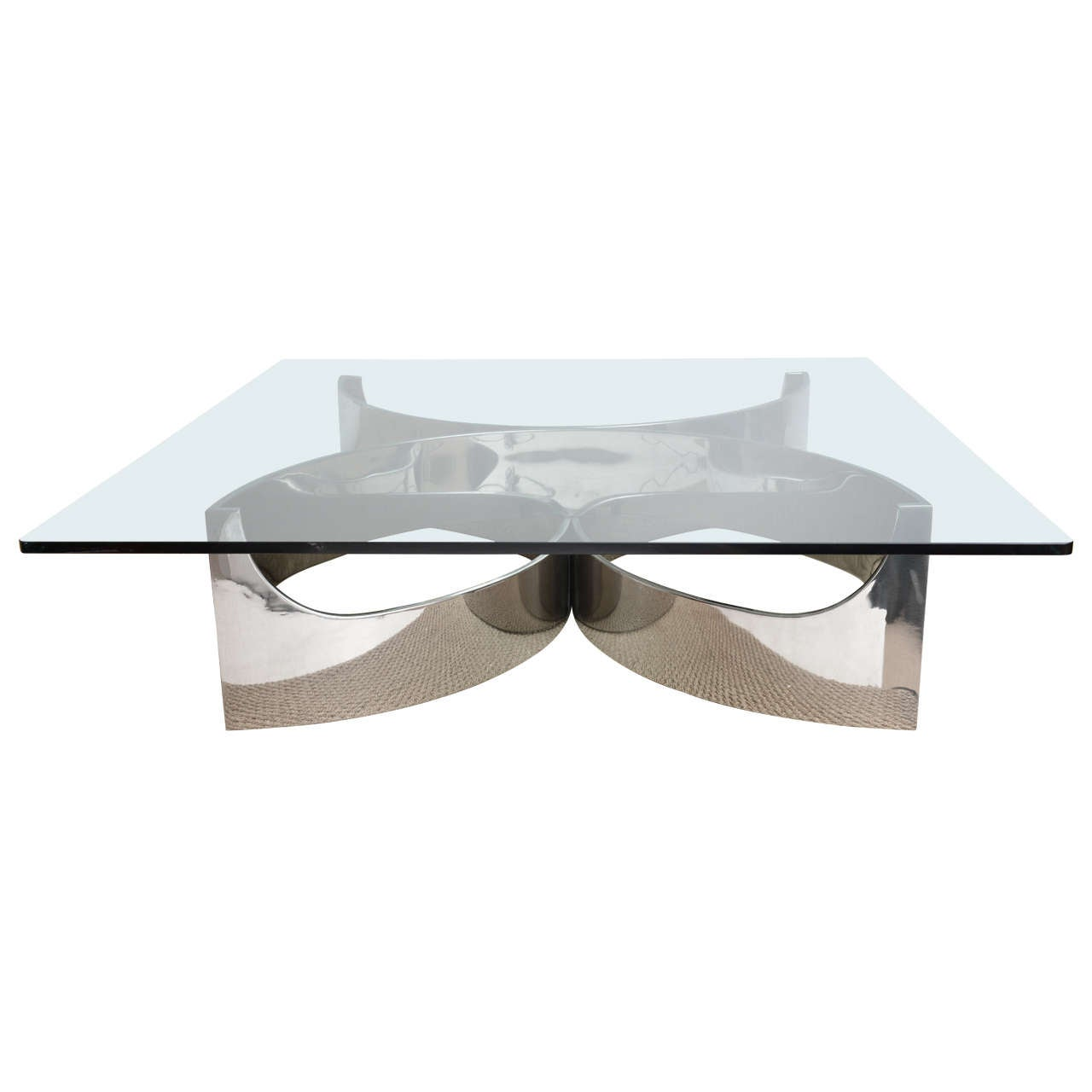 Square Steel Coffee Table Italian C 1970: Superb French Stainless Steel Coffee Table At 1stdibs
