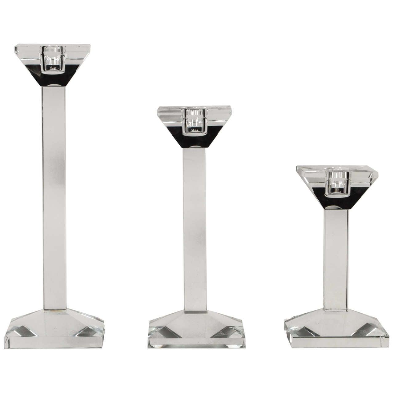 Set of 3 Crystal Candlesticks by Oleg Cassini