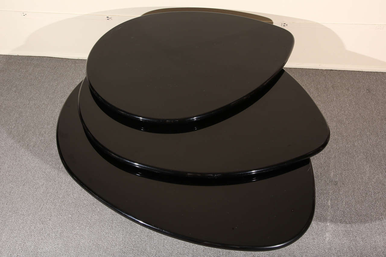 Canadian Black Lacquered Coffee table by Rougier For Sale