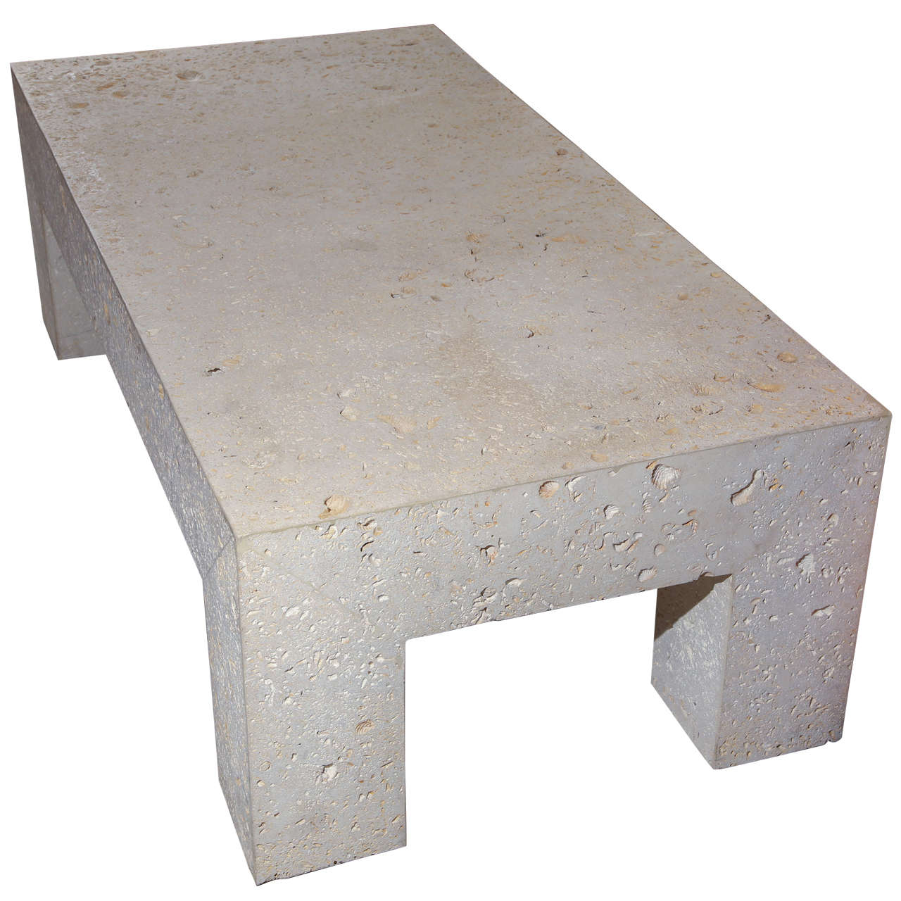 Charmant Fossil Stone Coffee Table For Sale