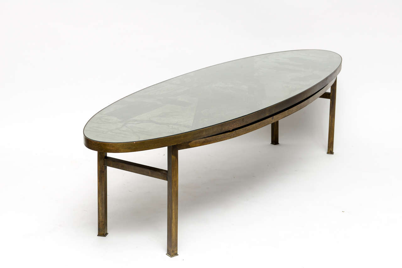 Unusual Oval Chan Coffee Table By Philip And Kelvin Laverne At 1stdibs