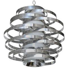 Polished Aluminum Chandelier Designed by Max Sauze for Sciolari