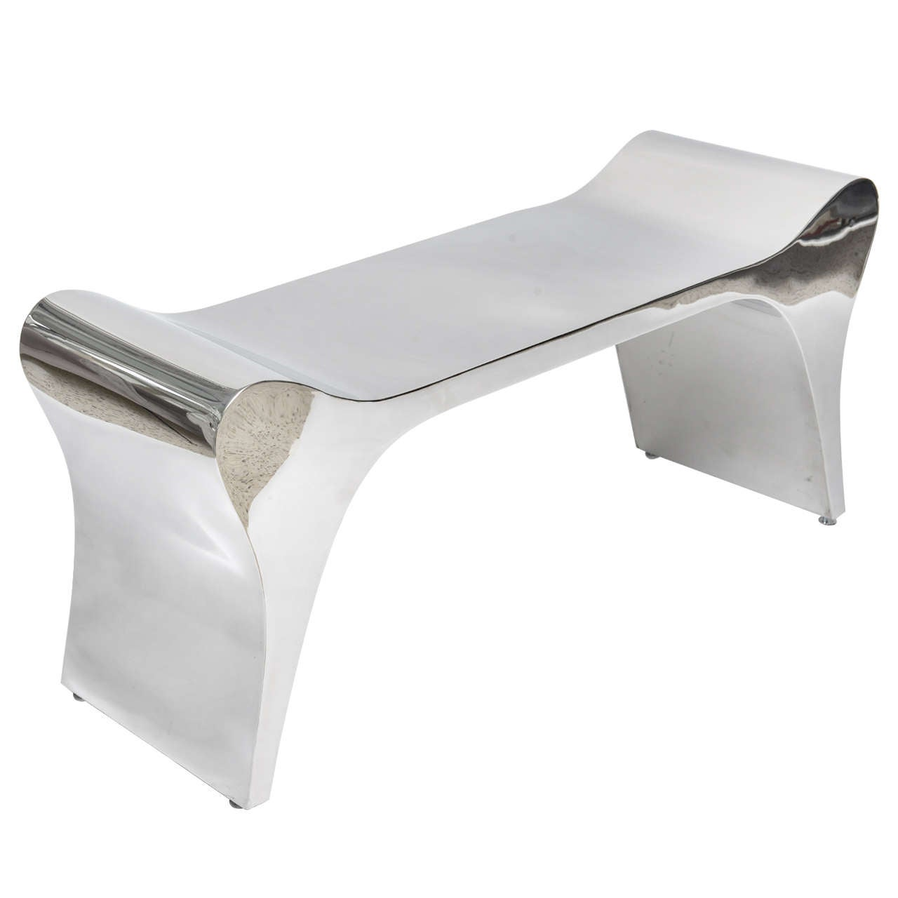 Polished Stainless Steel Bench At 1stdibs