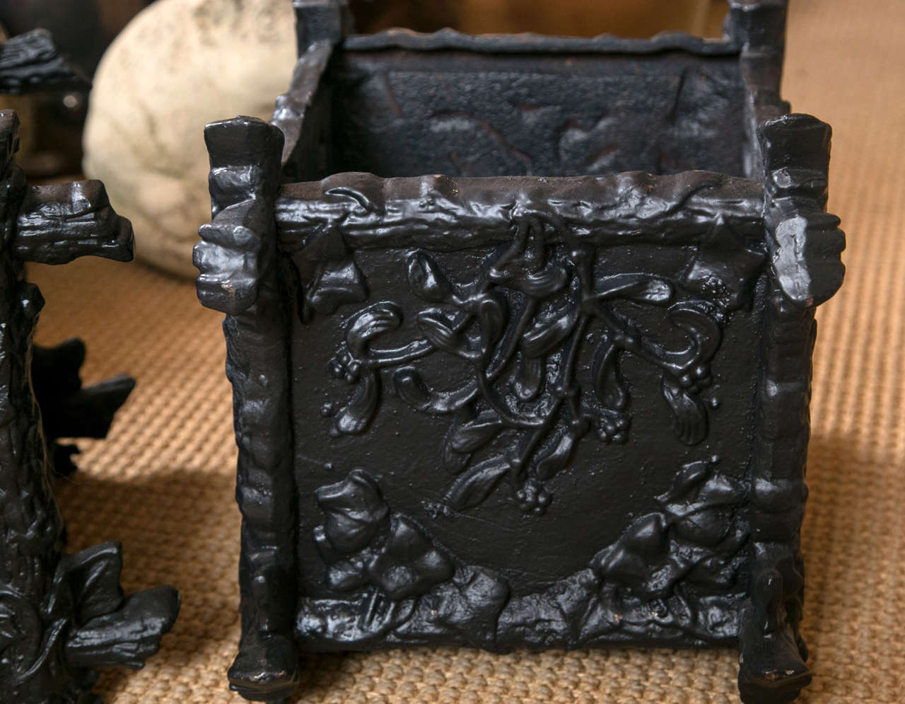 Victorian Pair of Petite Cast Iron L'Orangerie Planter Boxes For Sale