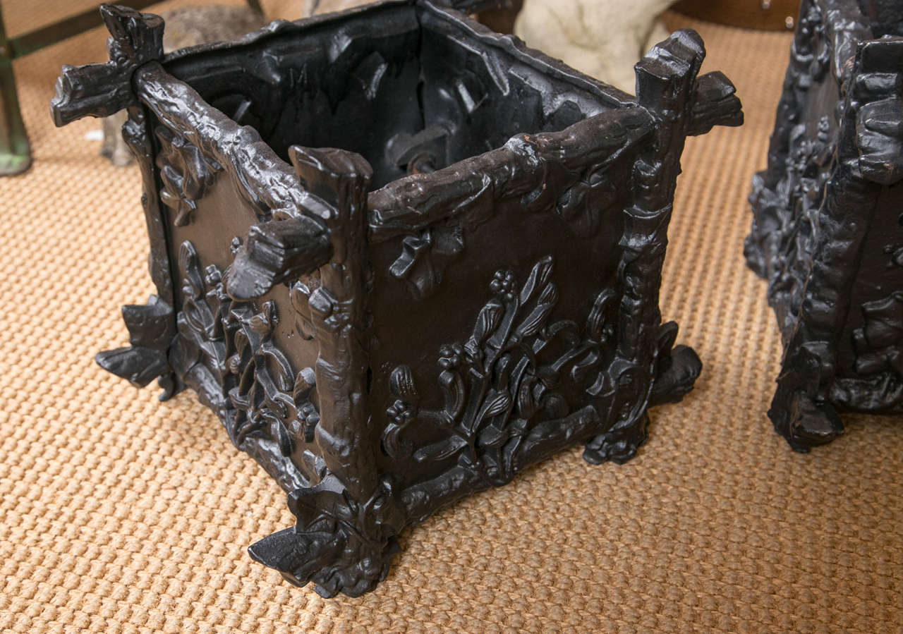 French Pair of Petite Cast Iron L'Orangerie Planter Boxes For Sale