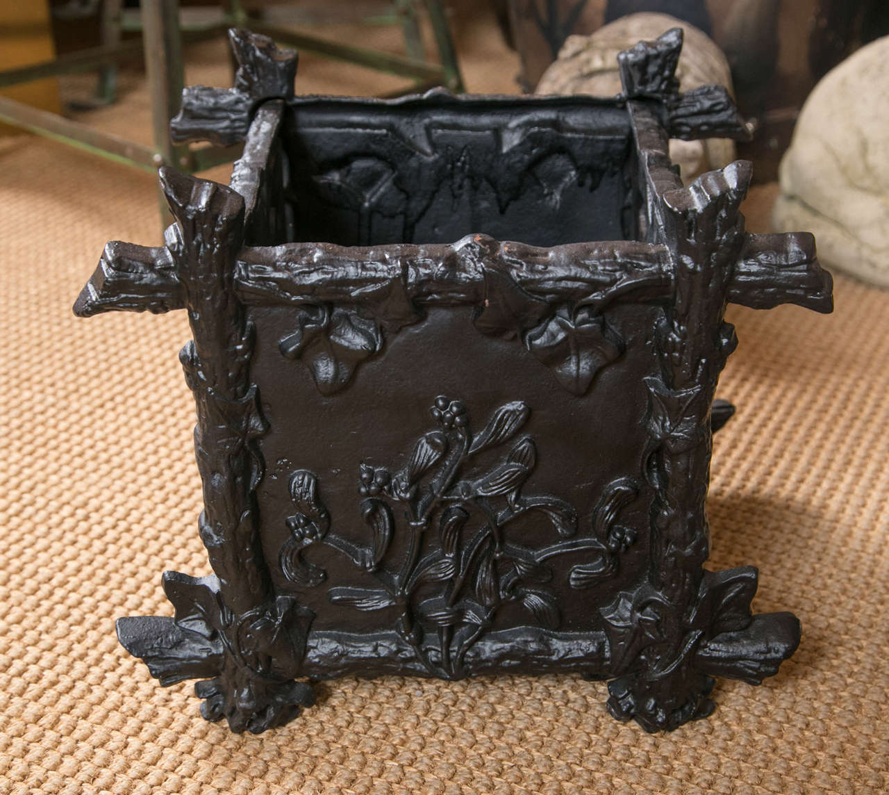 19th Century Pair of Petite Cast Iron L'Orangerie Planter Boxes For Sale