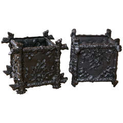 Pair of Petite Cast Iron L'Orangerie Planter Boxes