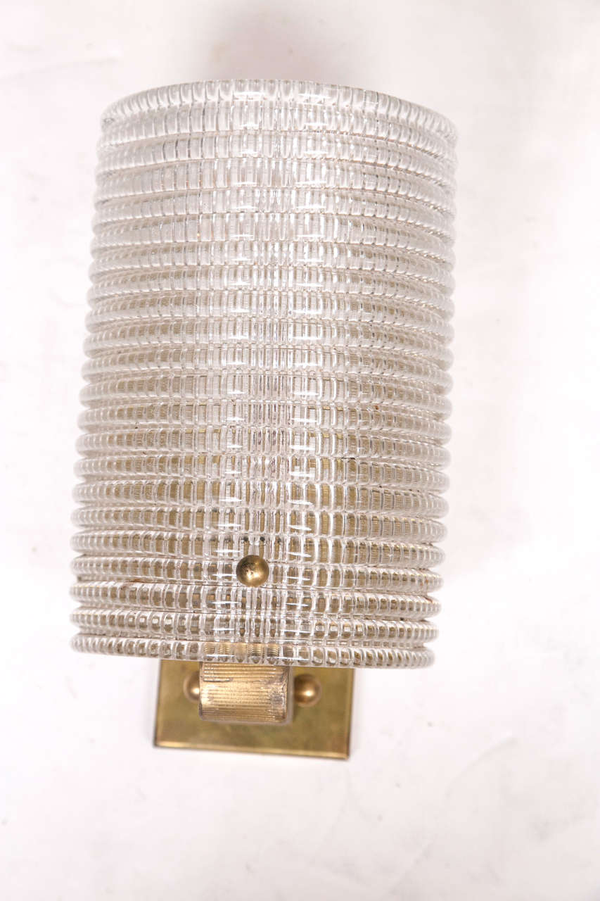 Patterned Glass Wall Lights : Pair of Barovier and Toso Patterned Glass Wall Sconces at 1stdibs