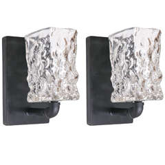 Pair of Industrial Style Handblown Glass Wall Sconces