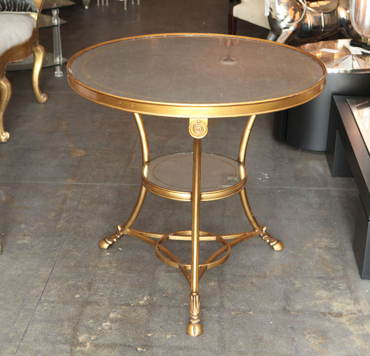 Silver Leaf Mirror Top Table With Gilt Metal Base For Sale