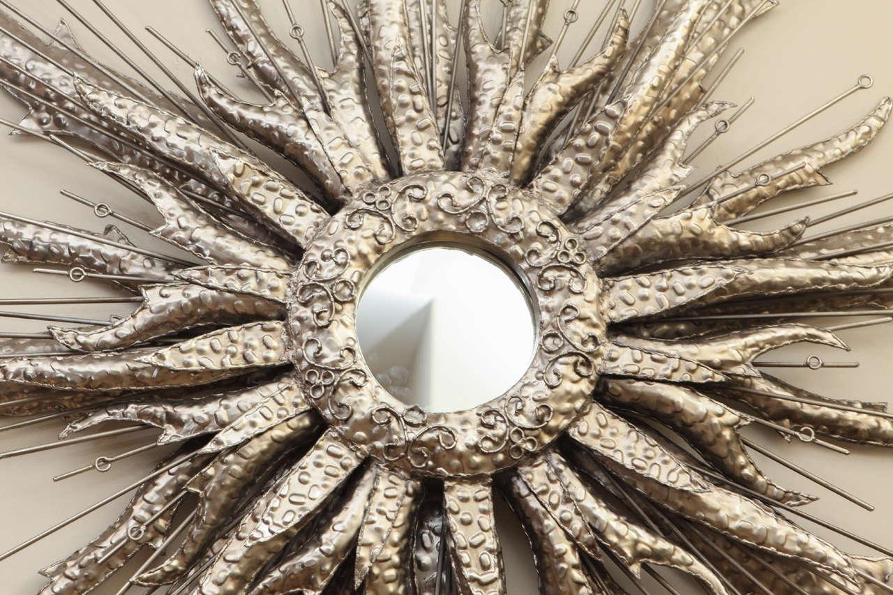 Unknown Silvered Metal Starburst Mirror For Sale