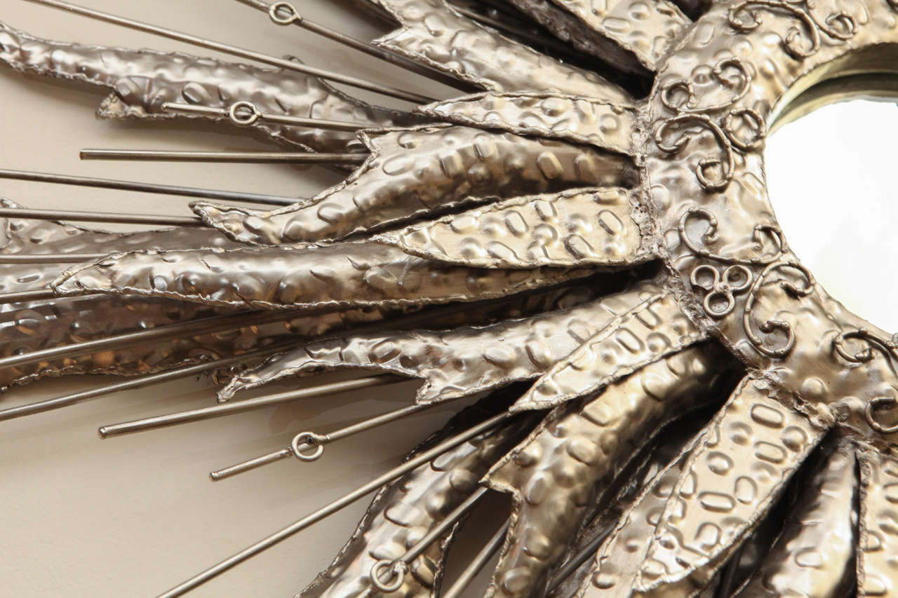 Mid-20th Century Silvered Metal Starburst Mirror For Sale