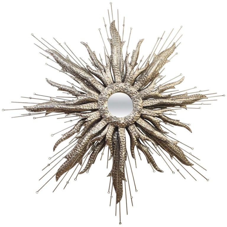 Silvered Metal Starburst Mirror For Sale