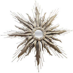 Silvered Metal Starburst Mirror