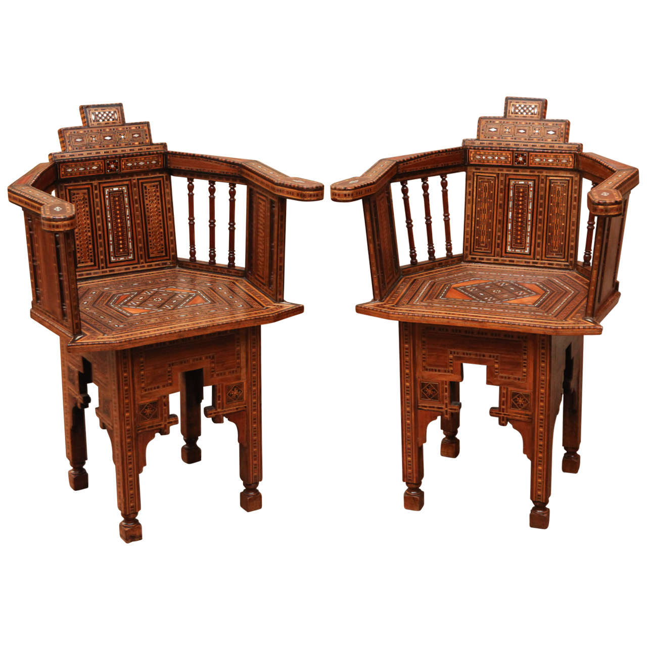 Charmant Pair Of Mother Of Pearl Inlay Moroccan Chairs For Sale