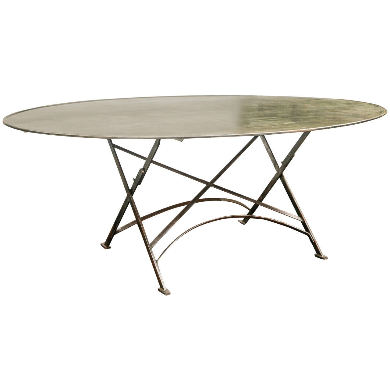 Folding French Metal Table Outdoor or Indoor at 1stdibs