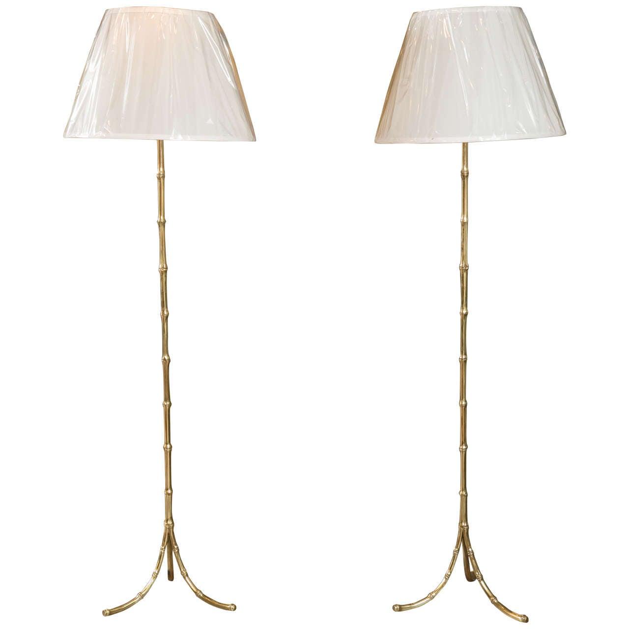 Pair of Bronze Faux Bamboo Floor Lamps