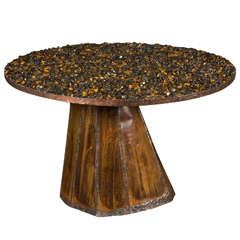 Unique Pedestal Table with Stones