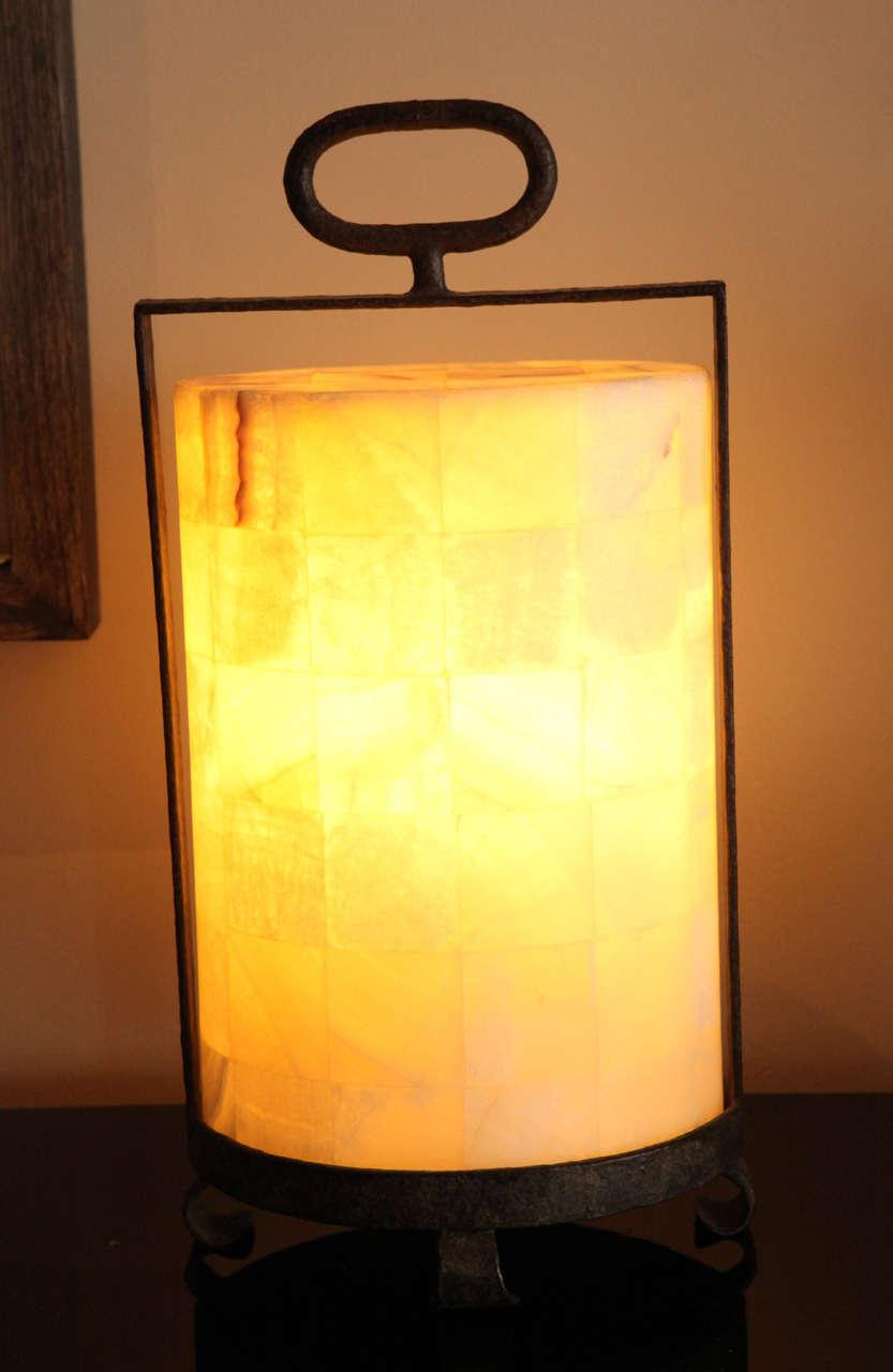 Rustic modern, organic modern quartz and iron lantern style table lamp. By order.