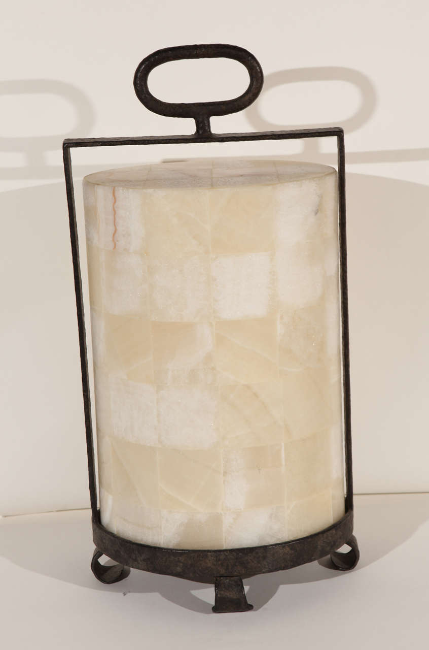 American Modern Rustic Quartz and Iron Lantern Style Table Lamp For Sale