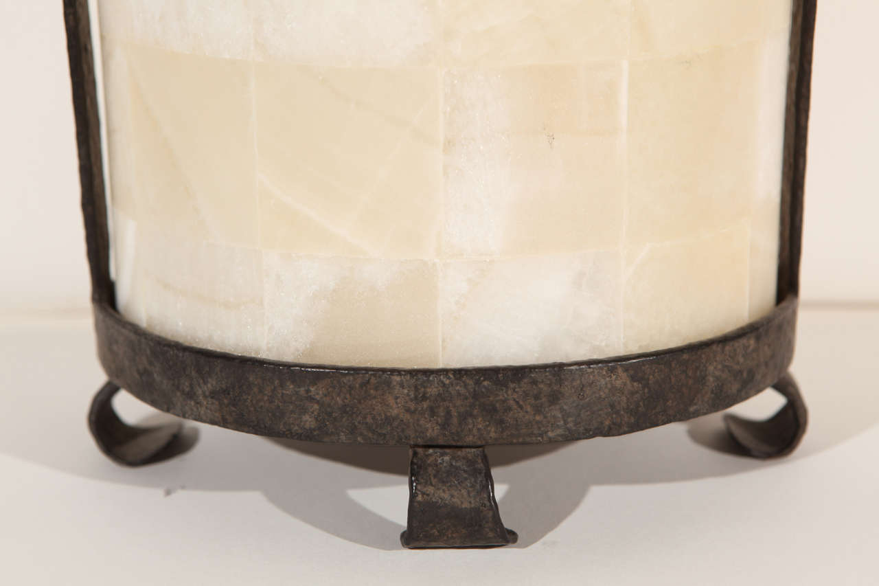 Contemporary Modern Rustic Quartz and Iron Lantern Style Table Lamp For Sale