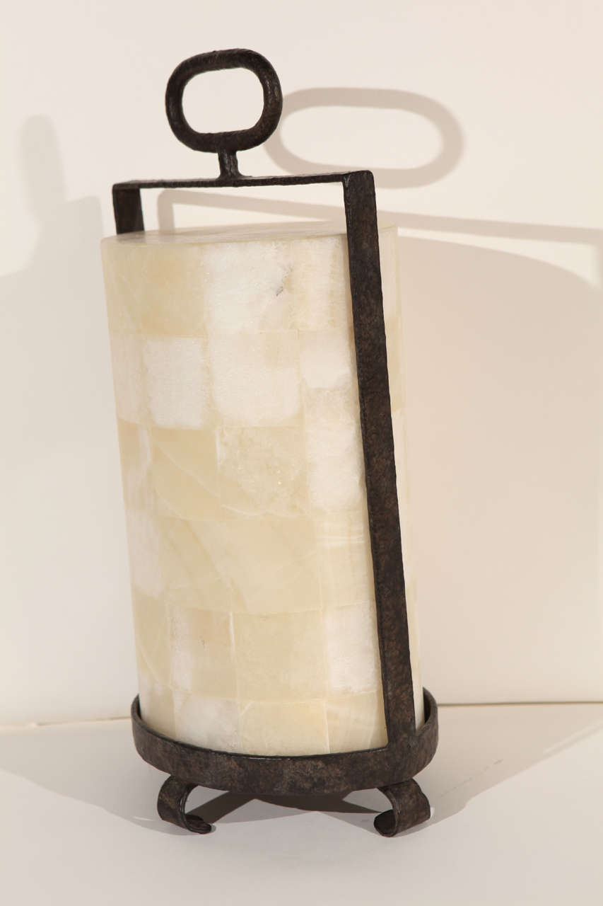 Modern Rustic Quartz and Iron Lantern Style Table Lamp For Sale 2