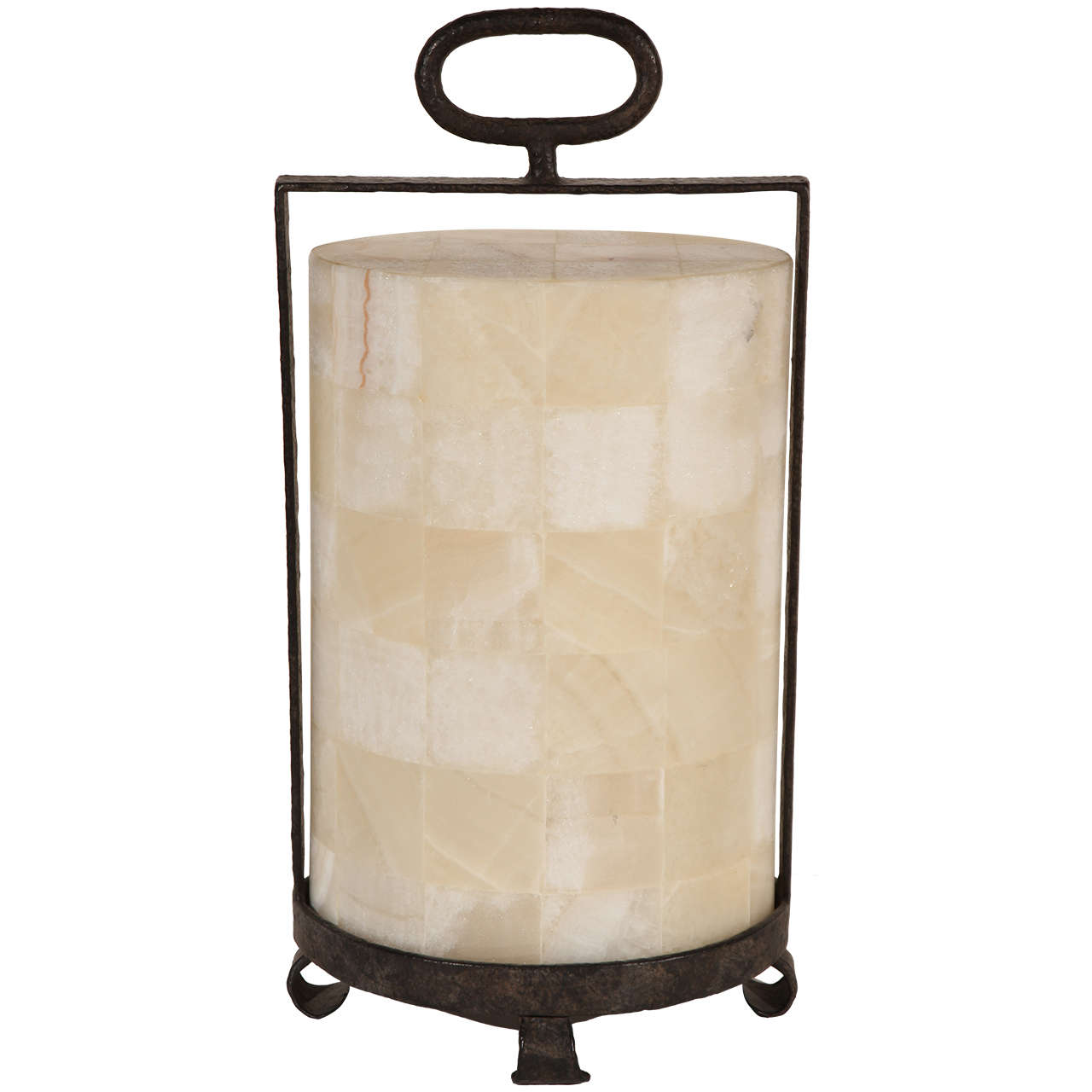 Modern Rustic Quartz and Iron Lantern Style Table Lamp For Sale