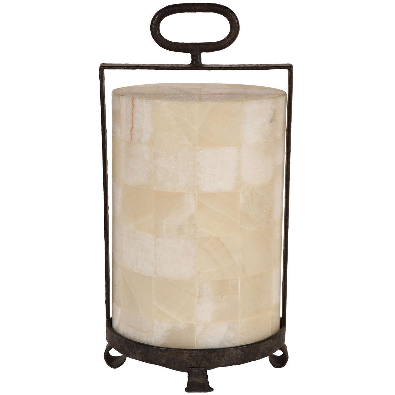 Modern Rustic Quartz and Iron Lantern Style Table Lamp