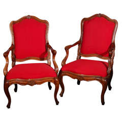 Pair of Italian Walnut Arm Chairs