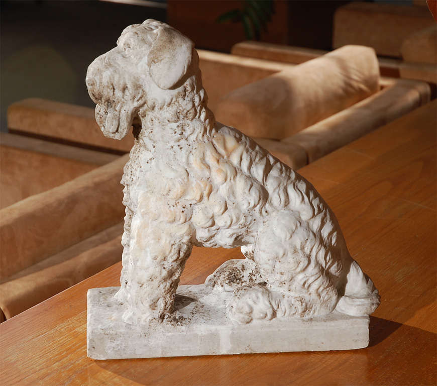 Marble Seated Dog In Good Condition For Sale In Los Angeles, CA