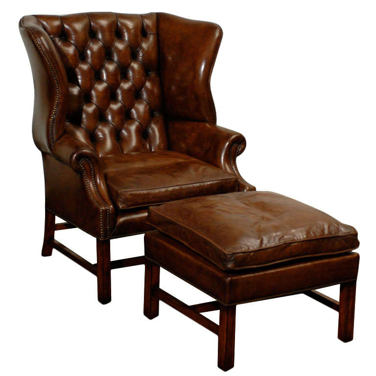 Owletts Tufted Wing Chair Wide At 1stdibs