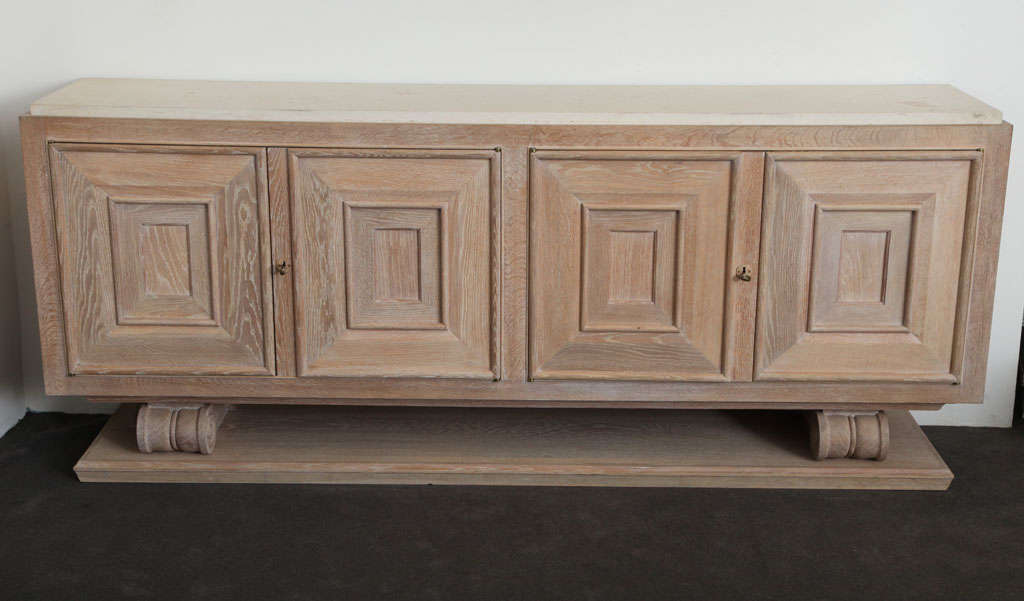 Pair Of Limed Oak Cabinets With Limestone Tops