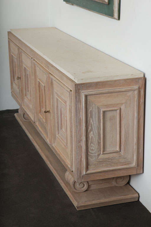 Pair of Limed-Oak Four Door Cabinets image 3