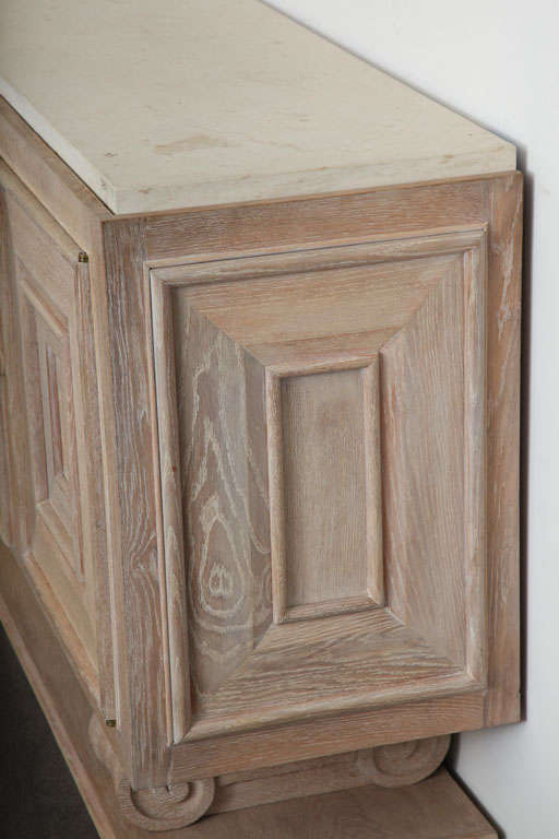 Pair of Limed-Oak Four Door Cabinets image 4