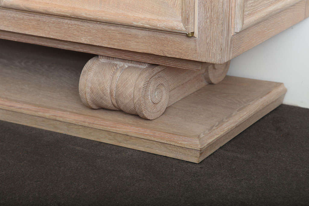 Pair of Limed-Oak Four Door Cabinets image 5