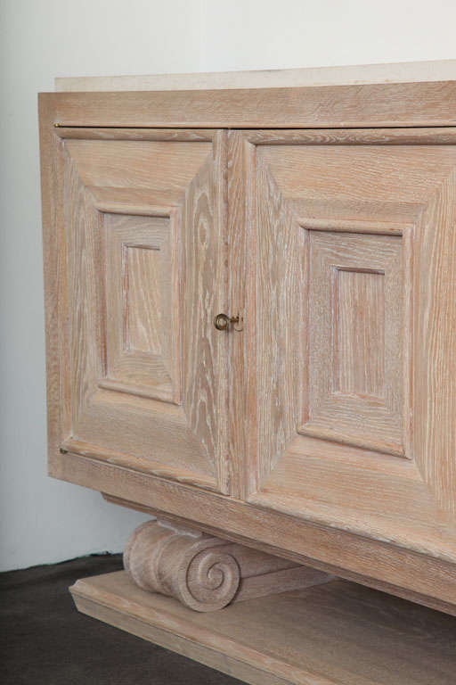 Pair of Limed-Oak Four Door Cabinets image 6