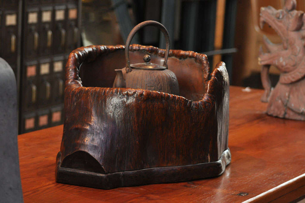 Japanese Teapot on Stand in Wood Basin with Copper Lining 3