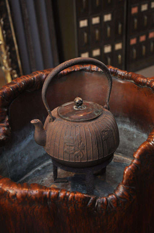 Japanese Teapot on Stand in Wood Basin with Copper Lining 5