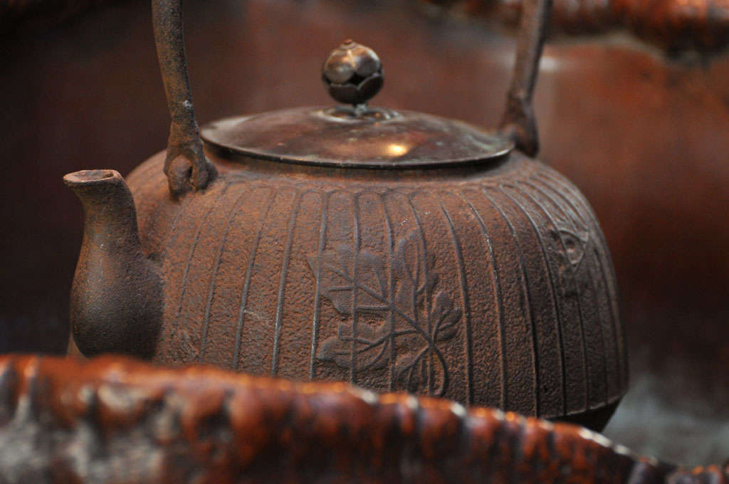 Japanese Teapot on Stand in Wood Basin with Copper Lining 6
