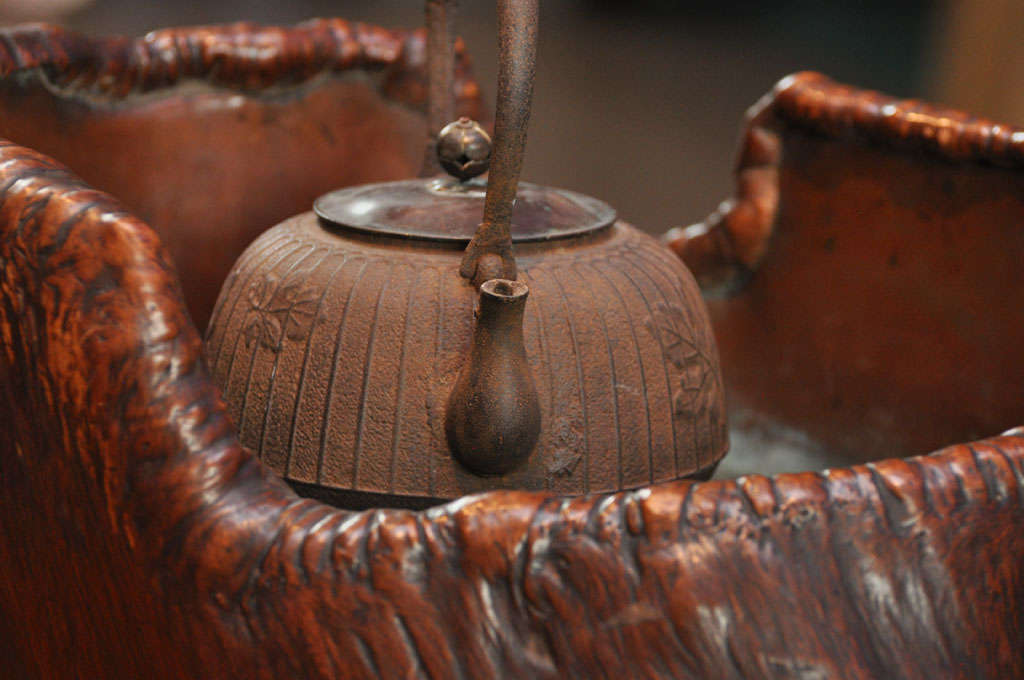 Japanese Teapot on Stand in Wood Basin with Copper Lining 8