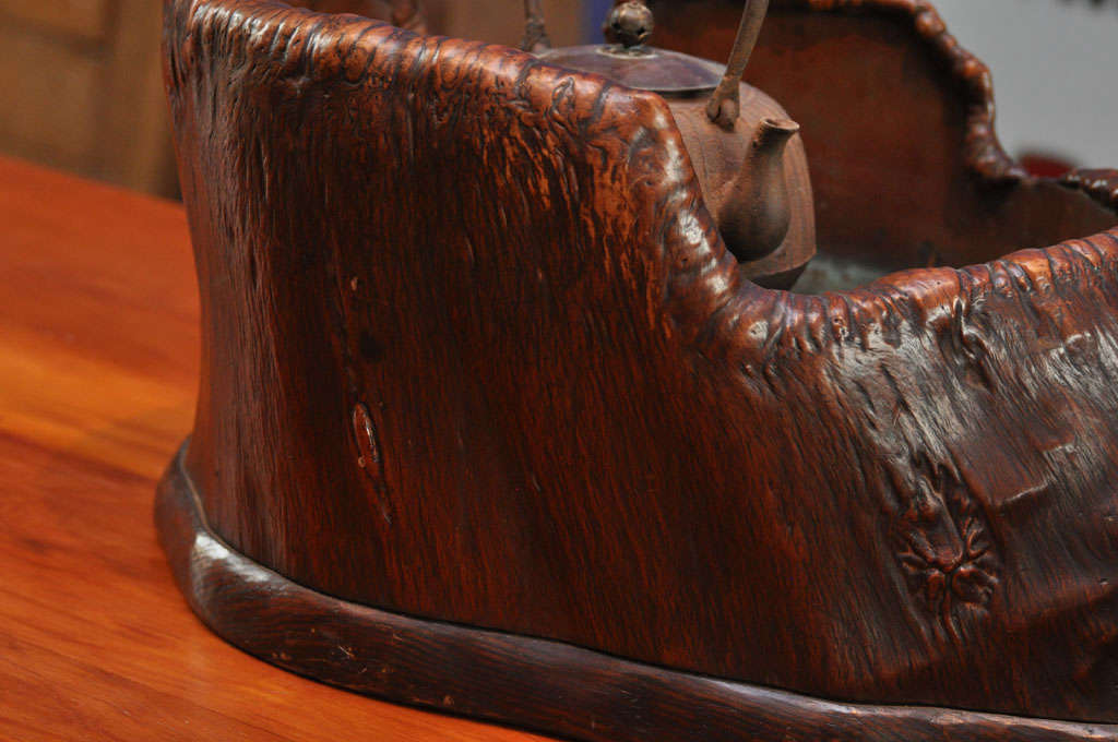 Japanese Teapot on Stand in Wood Basin with Copper Lining 9