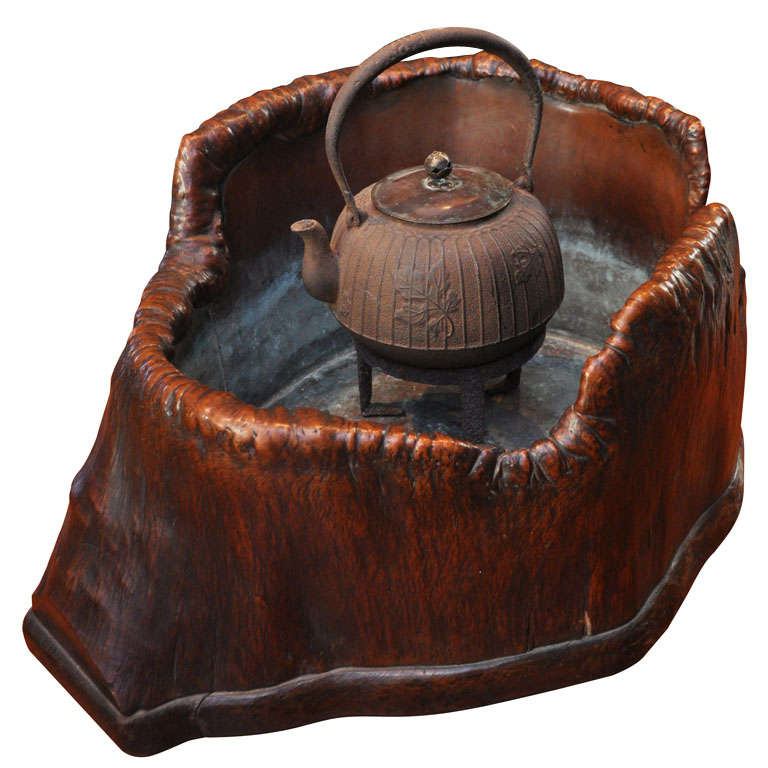 Japanese Teapot on Stand in Wood Basin with Copper Lining 1
