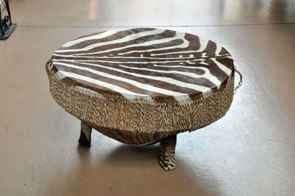 Zebra Hide Drum Table At 1stdibs