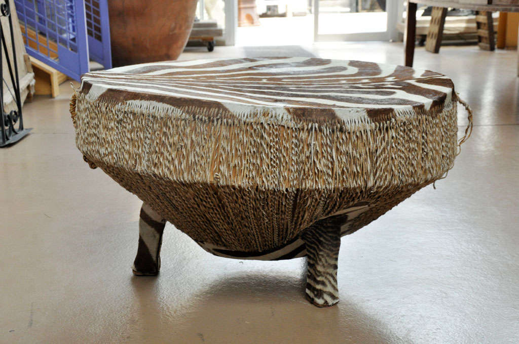 zebra hide drum table at 1stdibs. Black Bedroom Furniture Sets. Home Design Ideas