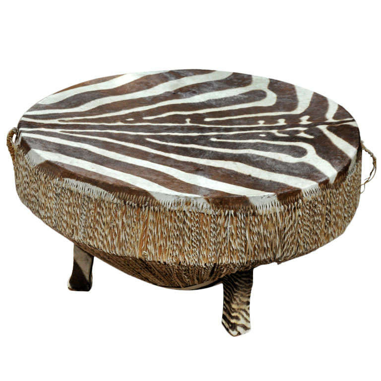 Zebra Hide Drum Table At 1stdibs