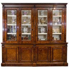 Fine Late Regency Walnut Inlaid Bookcase