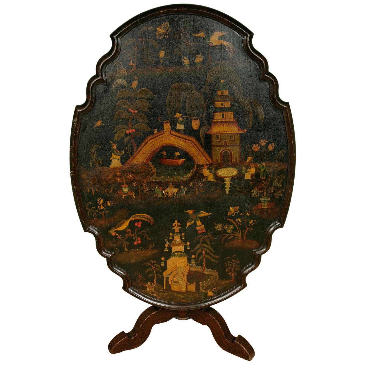 High Quality A U0027Dutchu0027 18th Century Chinoiserie Tilt Top Table 1